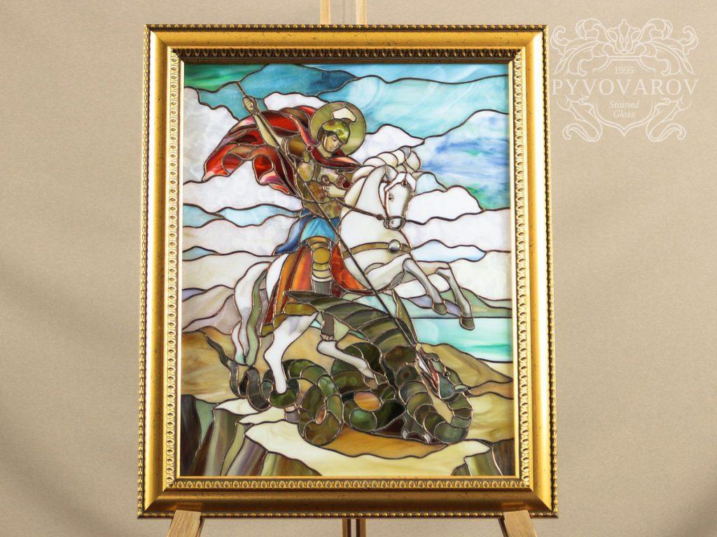 Витражная картина «Георгий Победоносец» #VO-0256