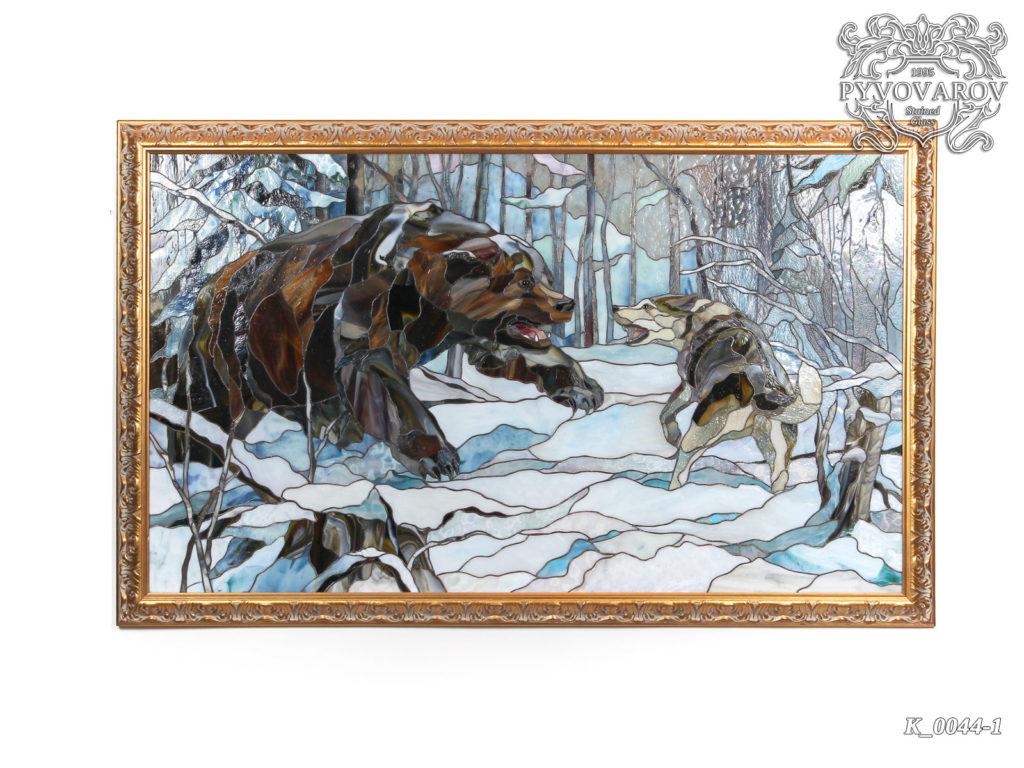 Витражная картина Тиффани «Охота на медведя» #VO-0163