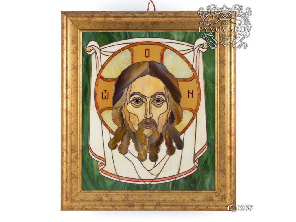Картина из витражного стекла Тиффани «Спас» #C-0266