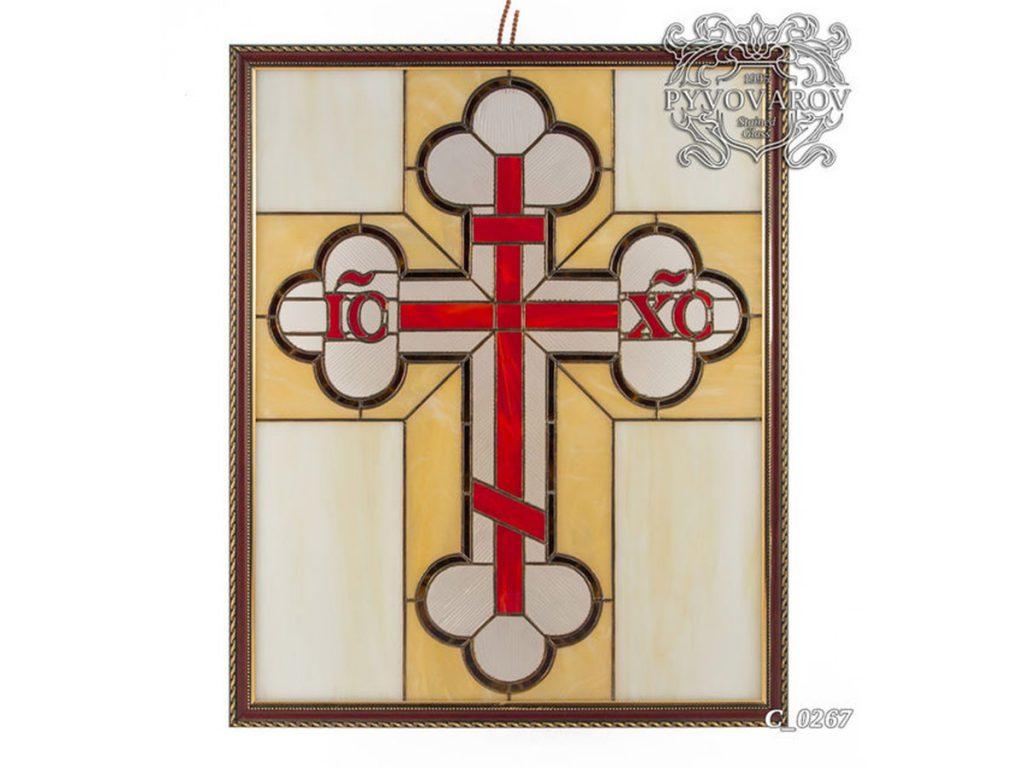 Картина из витражного стекла Тиффани «Православный крест» #C-0267
