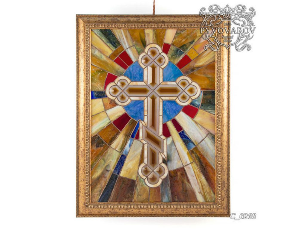 Картина из витражного стекла Тиффани «Православный крест» #C-0268