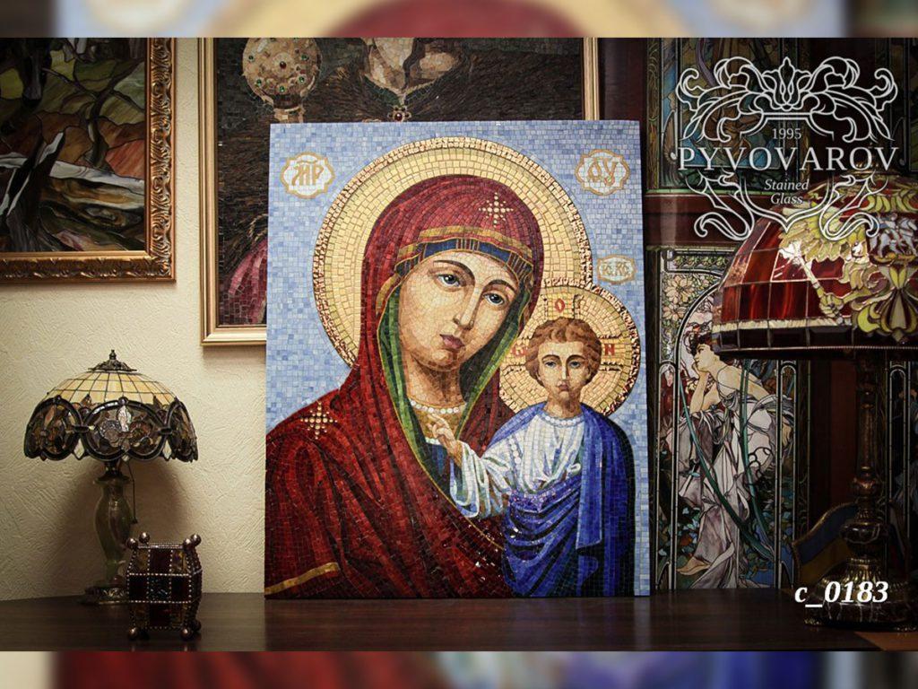 Икона из мозаики «Божья матерь» #C-0183