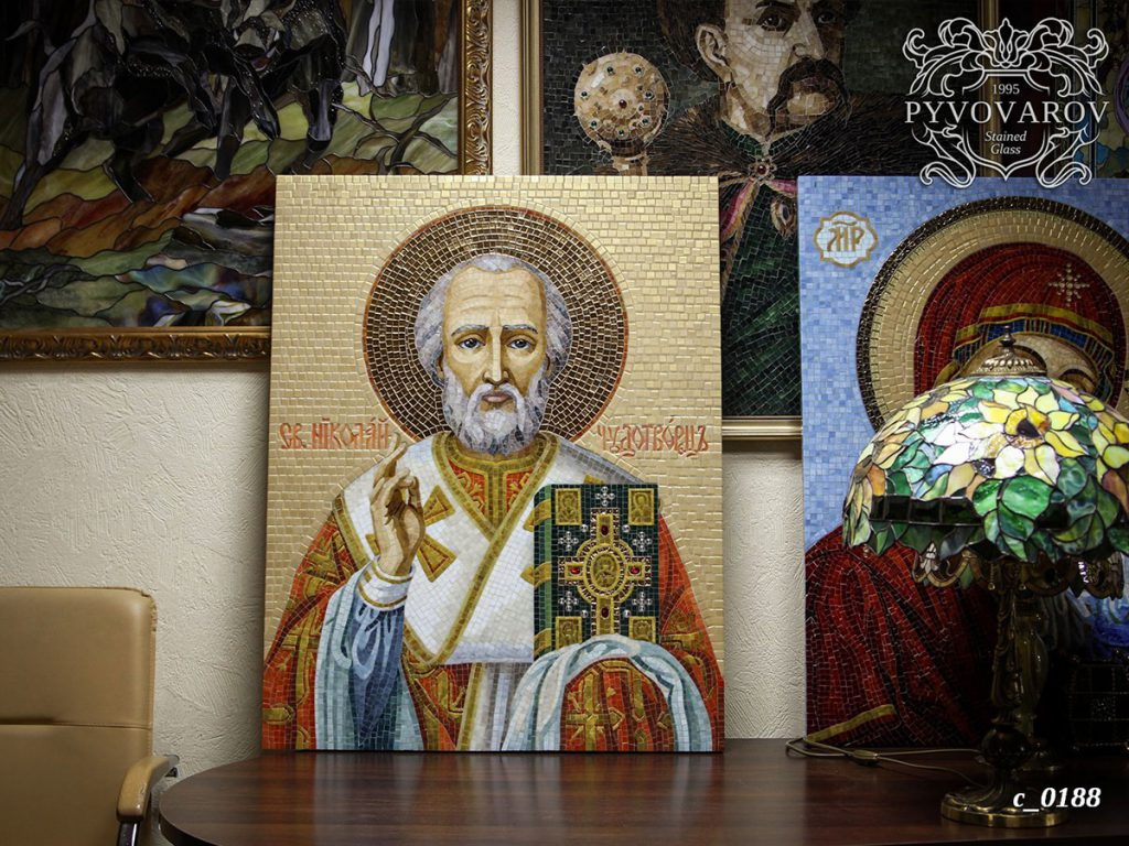 Икона из мозаики «Николай Чудотворец» #C-0188