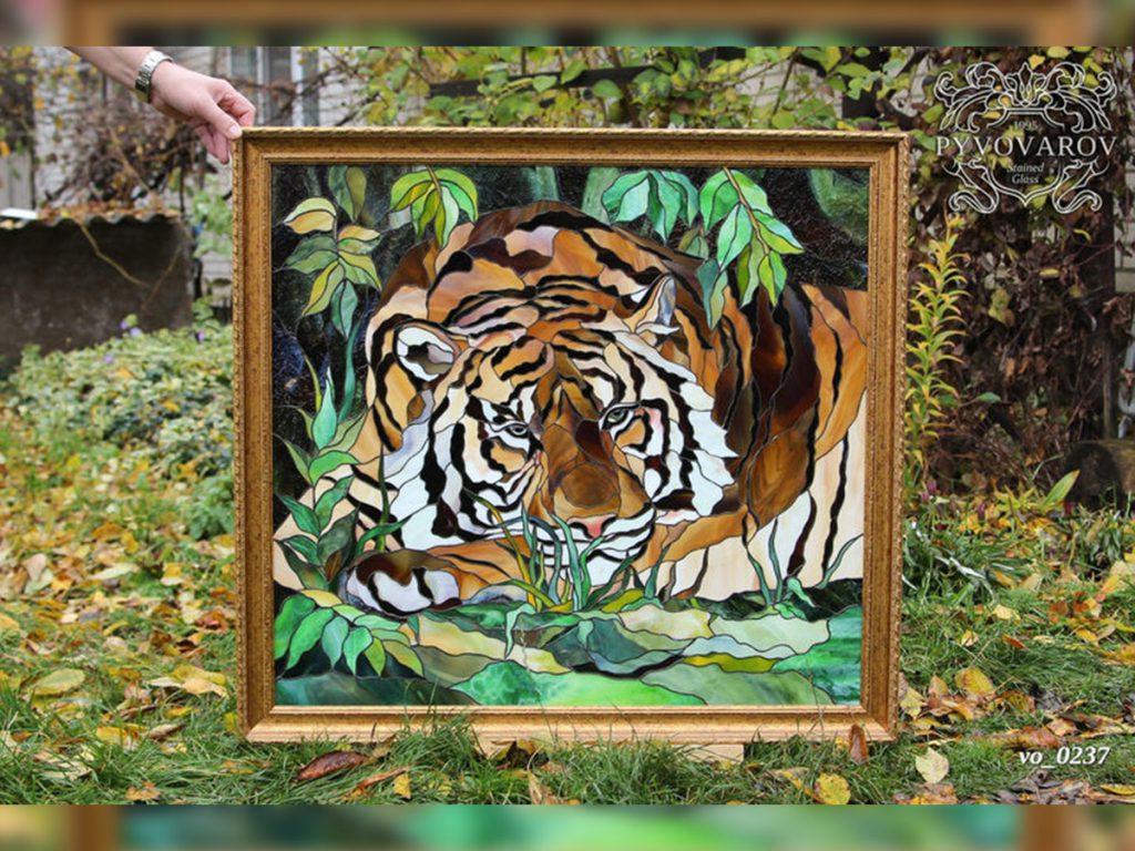 Витражная картина Тиффани «Тигр» #VO-0237