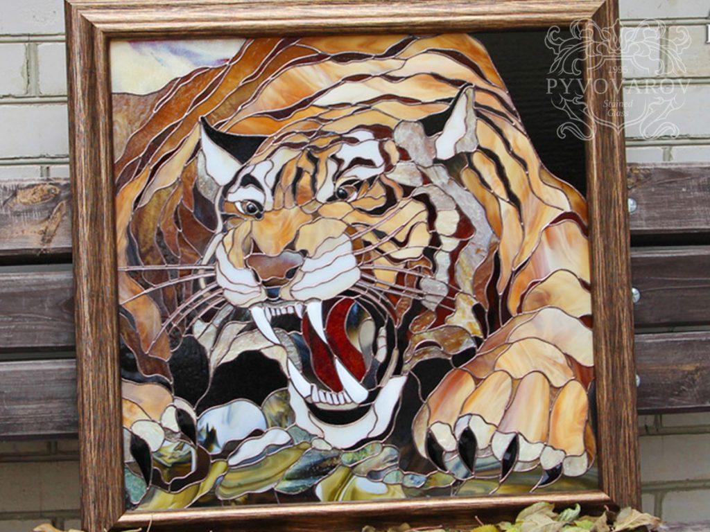 Витражная картина Тиффани «Оскал тигра» #VO-0282