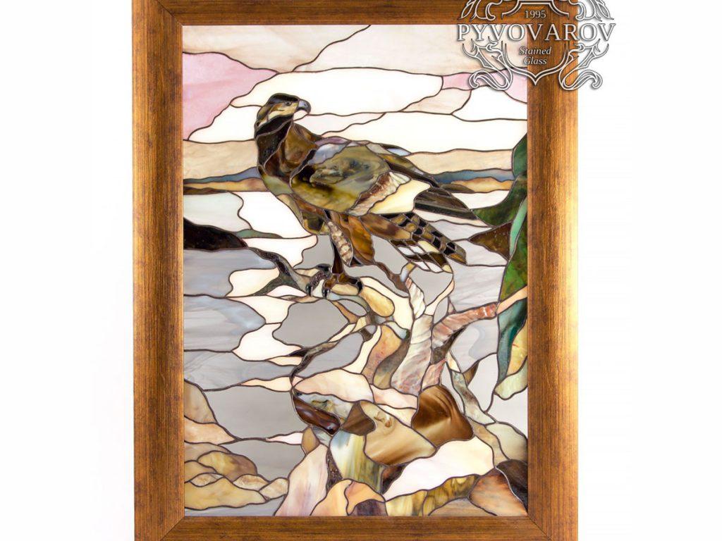 Картина из витражного стекла Тиффани «Беркут» #VO-0295