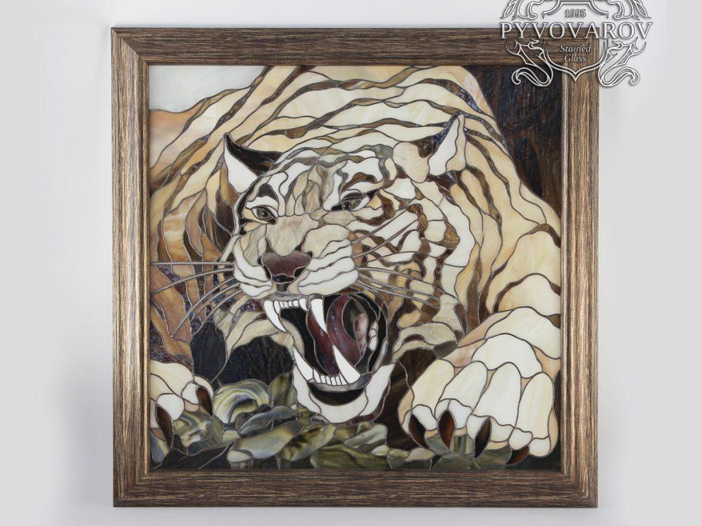 Витражная картина Тиффани «Оскал тигра» #VO-0304