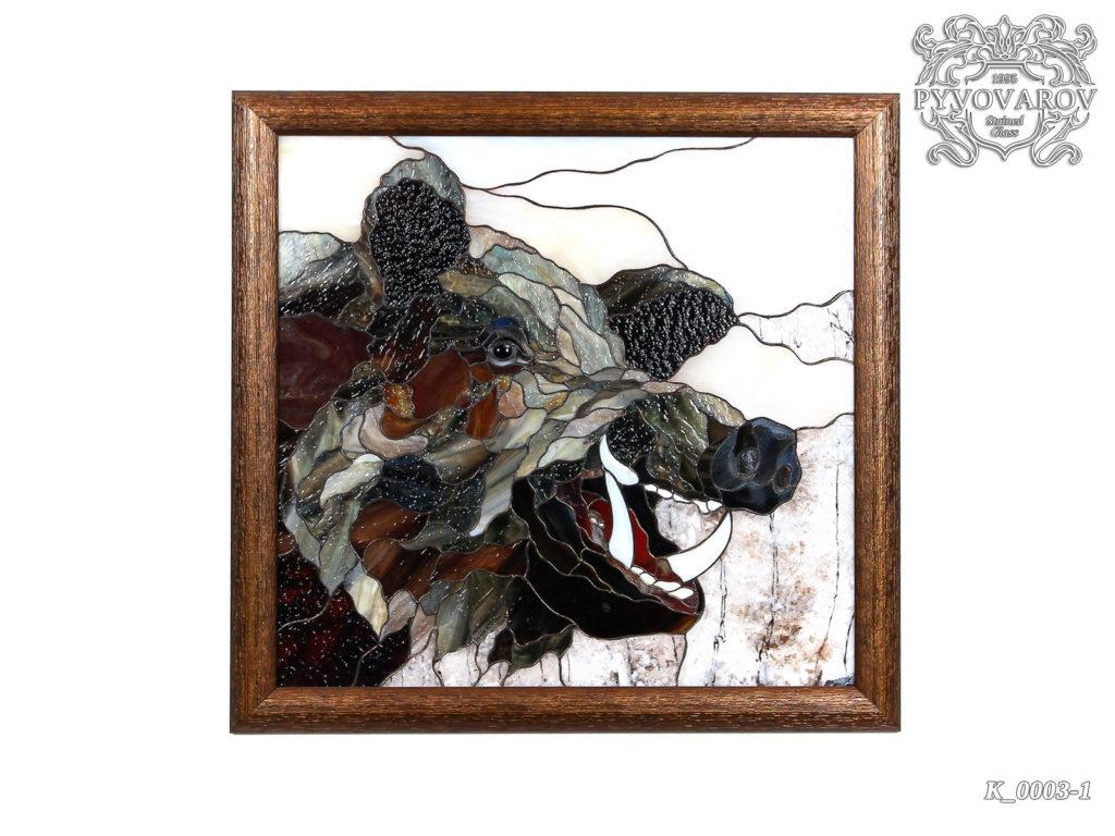 Витражная картина «Вепрь» #K-0003