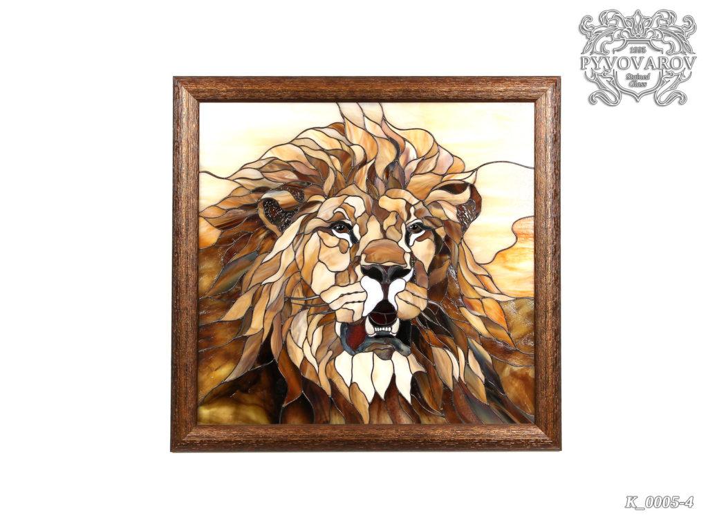Витражная картина «Лев» #K-0005