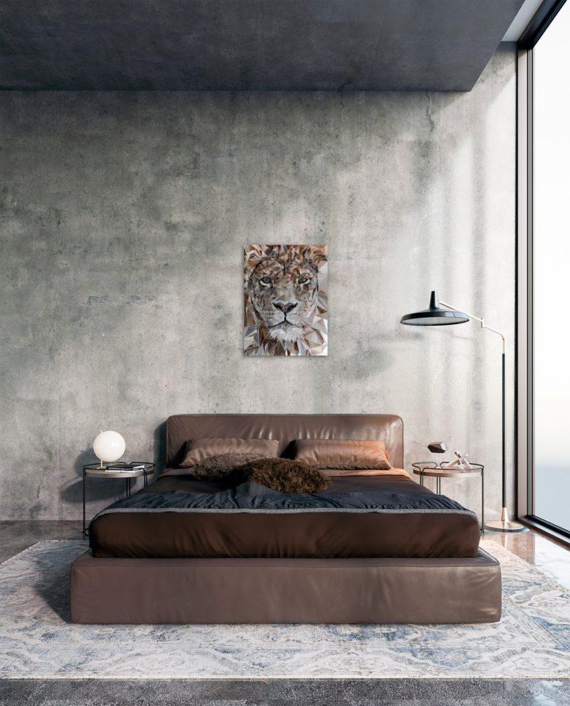 лев полигонная мозаика