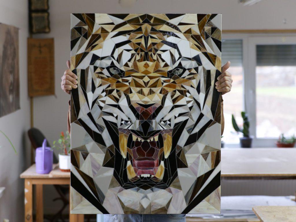 тигр полигон мозаика